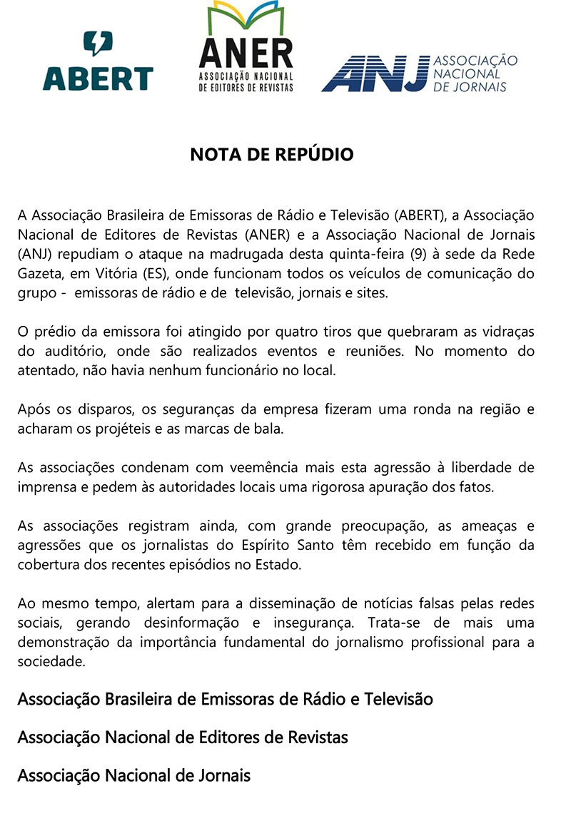 NOTA DE REPÚDIO 09.02 TV GAZETA ES